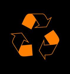 recycle logo concept orange icon on black vector image
