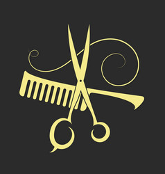 scissors and comb for beauty salon vector image