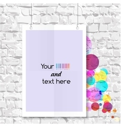 Blank on the wall with colorful balloons vector image