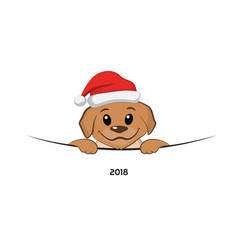 brown puppy in christmas hat vector image vector image
