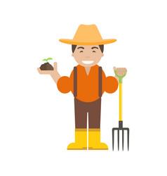 farmer or gardener with pitchfork vector image vector image
