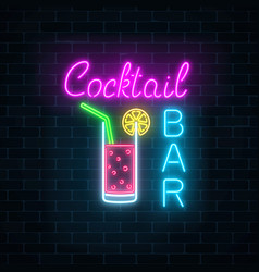 glowing neon cocktails bar signboard on dark vector image vector image