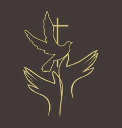 hands and cross dove vector image vector image