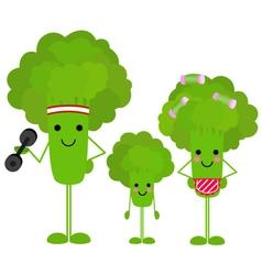 Healthy family broccoli vector image