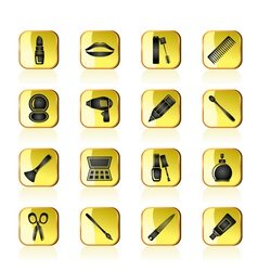 make up and hairdressing icons vector image vector image