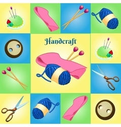 Modern set for needlework seven different objects vector image vector image