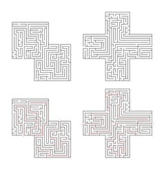 Two complicated labyrinths with red path of vector