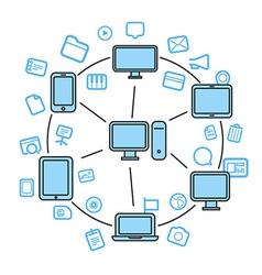 Wireless information fransfer across modern gadget vector image vector image