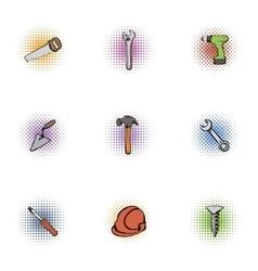 Construction icons set pop-art style vector image