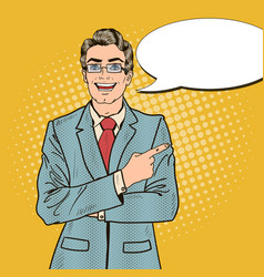pop art handsome businessman pointing copy space vector image