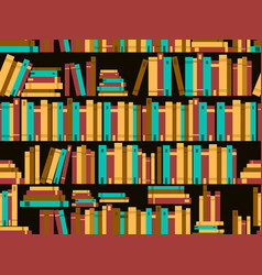 seamless pattern with books library bookshelf vector image