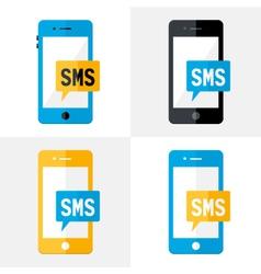 SMS Mobile Flat Set vector image