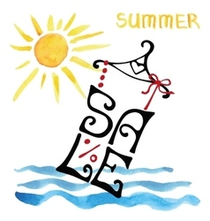 Summer sale letteringshirtwatercolor sunsea vector
