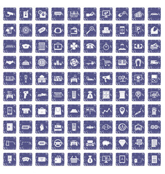 100 coin icons set grunge sapphire vector