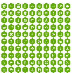 100 tackle icons hexagon green vector