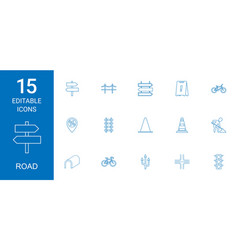 15 road icons vector image