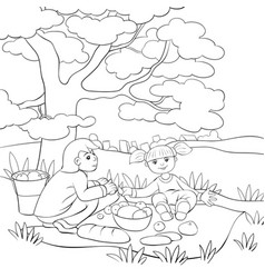 A children coloring bookpage a boy and girl at vector