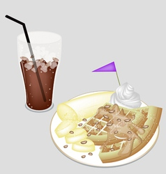 A Delicious Iced Coffee with Tradition Waffle vector image