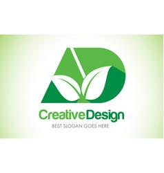 ad green leaf letter design logo eco bio leaf vector image