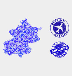 Airline composition beijing city map and vector