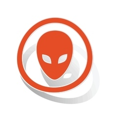 Alien sign sticker orange vector image vector image