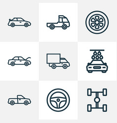 auto icons line style set with tie hood vector image