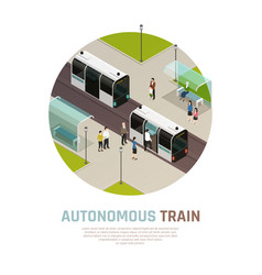autonomous train isometric composition vector image