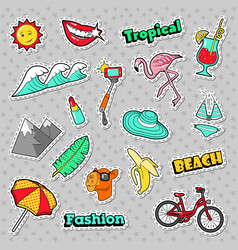 beach tropical badges patches stickers vector image