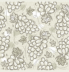 Beige seamless patterns with grapes on grunge vector