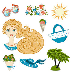 big summer set of summer theme items portrait of vector image