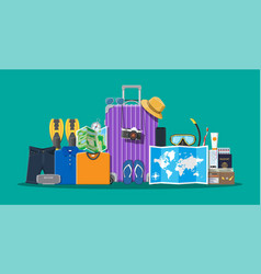 big travel set summer holiday tourism vacation vector image
