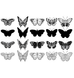black and white set of various butterflies forms vector image