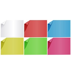 Blank papers in six colors vector image