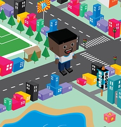 block isometric world cartoon vector image