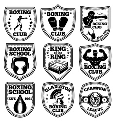 Boxing labels set With boxer gloves vector image