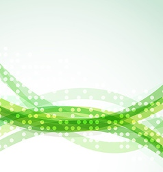 Bright green abstract swoosh lines dot background vector