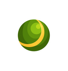 bright green ball with yellow stripe inflatable vector image