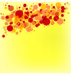 Bright red and orange watercolor drops on yellow vector