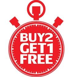 Buy 2 get 1 free red stopwatch vector