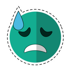 Cartoon crying face emoticon funny vector
