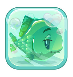 Cartoon green fish behind the glass vector