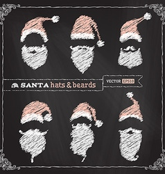 Chalk Christmas hats moustache and beards vector