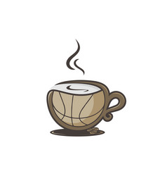 Coffee basketball logo design vector