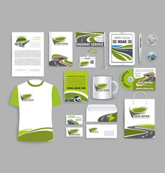 Corporate identity template for road build company vector