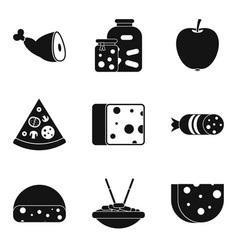 Cuisine icons set simple style vector