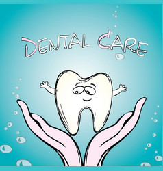 dental care tooth on hand vector image