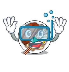 Diving jajangmyeon in a cartoon shape vector