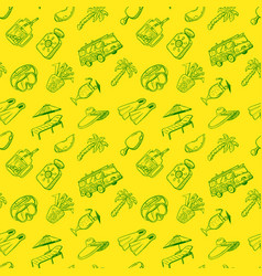 Doodle seamless pattern with summer beach cute vector