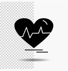 Ecg heart heartbeat pulse beat glyph icon on vector