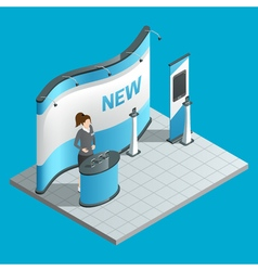 Exhibition isometric stand vector image